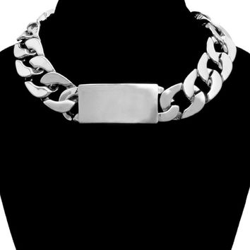 Silver Link ID Choker Necklace