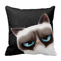 Funny Angry Cat Black Pillow