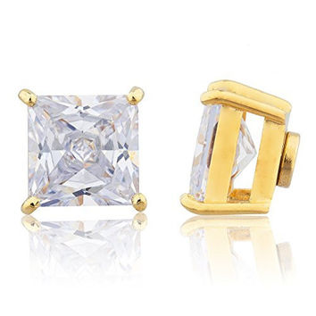 Goldtone Magnetic Earrings with Clear Cz Square - 4mm to 12mm