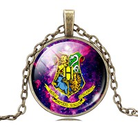 Harry Potter Time Gemstone Bronze Glass Pendant Necklace