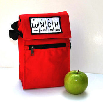 Red Periodic Table Lunch box Insulated with by YellowBugBoutique