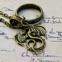 The Hobbit One Ring Dragon Necklace LOTR Bilbo