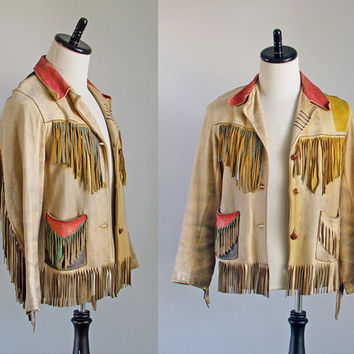 50s hand crafted distressed buckskin hudson bay painted vintage leather jacket size 38