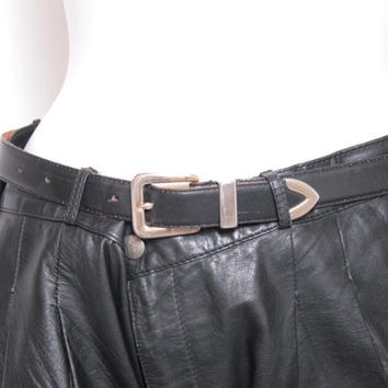 Vintage Black Leather Leather Belt with Silver Hardware Size Small