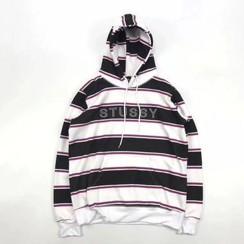 ONETOW Stussy Woman Men Fashion Stripe Hoodie Top Sweater Pullover