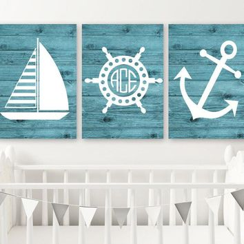 Nautical Wall Art, Nautical CANVAS or Print, Nautical Nursery Decor, Sailboat Anchor, Nautical Monogram, Baby Boy Nursery Decor, Set of 3