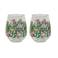 Stemless Acrylic Wine Glasses in Hot Spot by Lilly Pulitzer