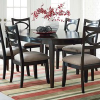 Merlot Brown Finish, Oval Shaped Table | Serenity 5 Piece Dining Set