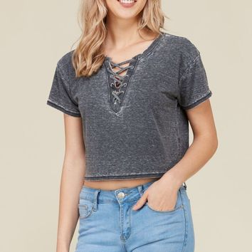 Lace Up Crop Tee in Black