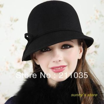 Hot Sale Fashion vintage dome woolen cap spring and autumn winter fedoras female hat female bucket hats,