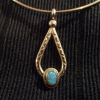 Authentic Navajo,Native American,Southwestern vintage style sterling silver teardrop stamped blue opal pendant/necklace.