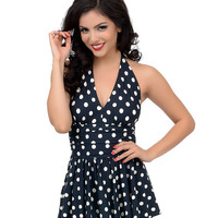 1950s Style Black & White Dotted Marilyn Swimdress