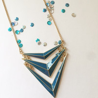 Chevron Necklace - Red or Blue
