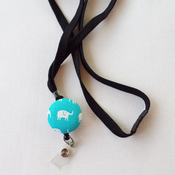 Lanyard ID Badge Holder - retractable reel - breakaway - white elephant on turquoise - coworker friend nurse teacher gift