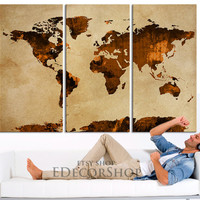 Dark Orange WORLD MAP Canvas Print on Old Wall - Vintage Large Size World Map Canvas Painting