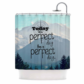 "Robin Dickinson ""A Perfect Day"" Gray Blue Shower Curtain"