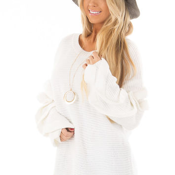 White Sweater with Ruffled Long Sleeves