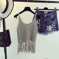 Fashion Hollow Tassel Knit Vest Tank Top Cami