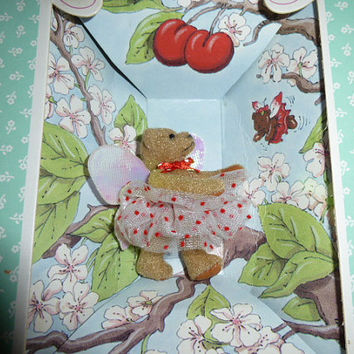 Vintage Gund The Littlest Bears Cherry Tree Faierie Tiny Fairy Bear Miniature Teddy Bear 1994