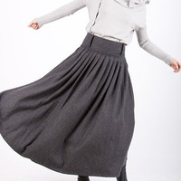 Dark grey woolen long skirt by xiaolizi on Etsy