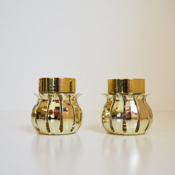 Vintage Brass Salt and Pepper Shakers Mid Century Modern Salt and Pepper Shakers Eames Era