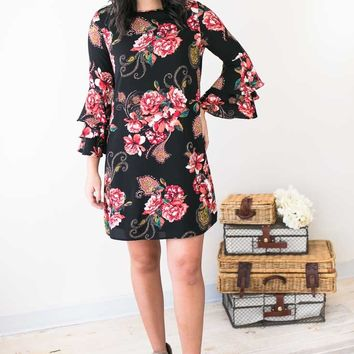 Flaunting Your Black Floral Bell Sleeve Dress