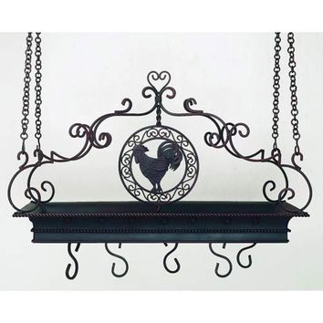 Dr. Livingstone I Presume DLM829ST Iron and Tole Pot Rack with Rooster Accents