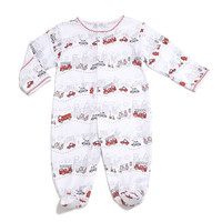 City Trucks Pima Footie Pajamas, White, Size 0-9 Months, Size:
