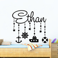 Wall Decal Vinyl Sticker Decals Home Decor Art Murals Custom Personalized Name  Ship Anchor Marine Nautical Baby Boy Nursery Bedroom MM55