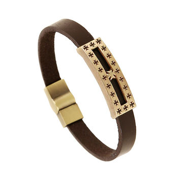 Great Deal Shiny Gift Stylish New Arrival Awesome Hot Sale Cross Bangle Leather Alloy Men Vintage Ring Bracelet [6526776387]