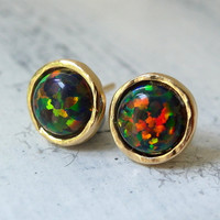 Black Opal stud earrings, Opal studs, Glitter black Opal studs, Gold or silver stud earrings, October birthstone earrings, bridesmaid gift
