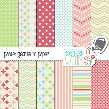 Pastel Pink, Blue, and Green Digital Paper Pack – geometric scrapbook papers with chevron, stars, and polka dots – instant download – CU OK