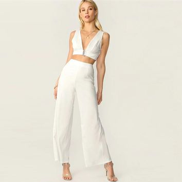 Plunging Neck Top And High Waist Palazzo Pants Set White Solid Sexy Sleeveless 2 Piece Set Women Deep V Neck Set