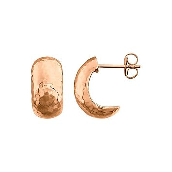 Hammered J-Hoop Earrings in 14k Rose Gold, 8 x 15mm