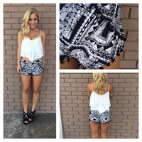 Black & White Geometric Print Shorts