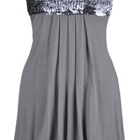 Grey Sequined Strapless Dress