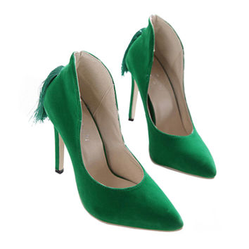 Back Heel Tassel Pointed Thin High Heel Low-cut Wedding Shoes   green