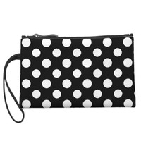 Black and White Polka Dot Pattern Mini Clutch