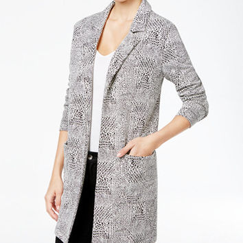 Style & Co. Jacquard Open-Front Blazer, Only at Macy's - Jackets - Women - Macy's