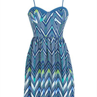 Bustier Dress in Zigzag Rainbow - Multi