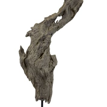 Abstract Art Resin Tree Bark Sculpture On Stand In Grey Color