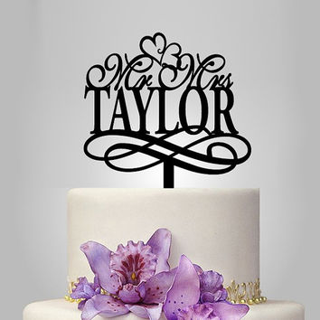 personalize wedding cake topper mr and mrs with custom name, wedding gift idea, vintage cake topper,