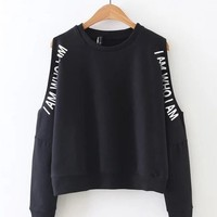 Stylish Women Casual Off-shoulder Letter Print O-neck Hoodie - NewChic Mobile.