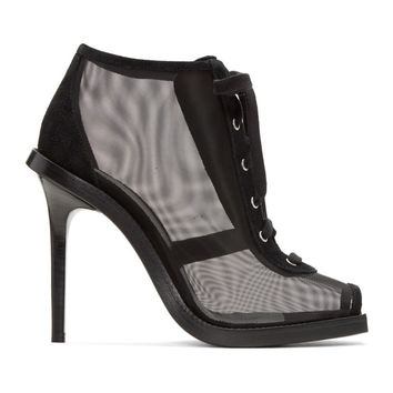 Black Mesh & Suede Lace-Up Boots