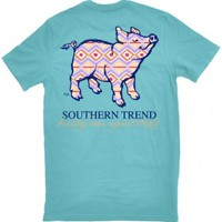 Pastel Pattern Pig Pocket T-Shirt