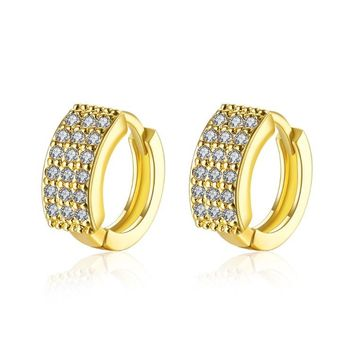 Golden NYC 18K Gold Plated Huggies Earring-Triple Row Pave'
