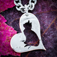 Cat Necklace, Heart Jewelry, Kitty Gift, Gift for a girl, Hand cut coin