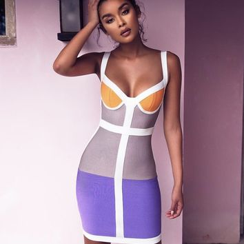 Julia blue & grey color block bandage mini dress