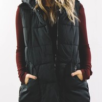 Sucker For Love Black Puffer Vest