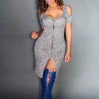 Sexy Gray Knit Mini Dress With Cutout Shoulders With Front Slit